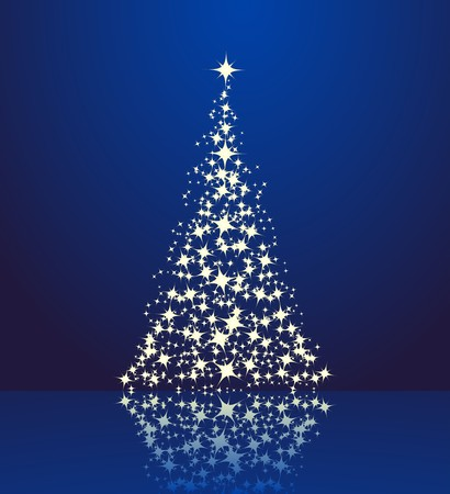 Christmas background, silhouette of a christmas tree.