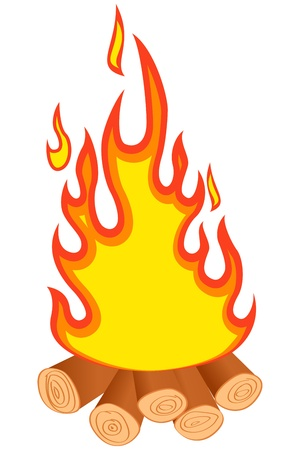 Logs burning. Bonfire on white background. Vector illustration.