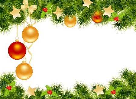 Illustration for Christmas background with decorations. Vector illustration. - Royalty Free Image