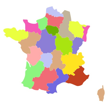 Map of France with regions and counties.
