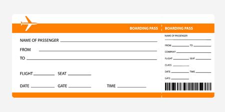 Ilustración de Airplane ticket blank space. orange boarding pass coupon isolated on white background. Detailed blank of plane ticket. Vector illustration - Imagen libre de derechos