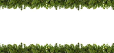 Photo for Christmas tree branches on white background as a border or template for christmas card - Royalty Free Image