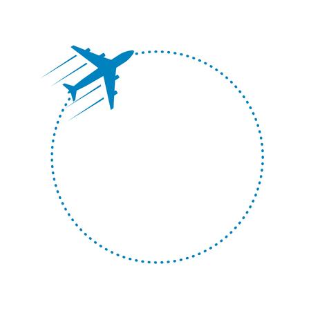 Ilustración de plane and its dotted round path on white background. Vector illustration. - Imagen libre de derechos