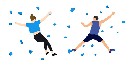 A man and a woman climbers on a wall in a climbing gym isolated on a white background. Vector illustration.