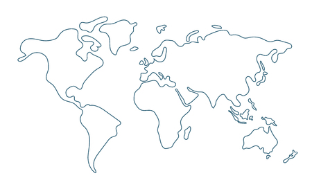 Illustration pour Simple world map in doodle style isolated on white background. Vector illustration. - image libre de droit