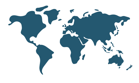 Illustration pour Simple world map in flat style isolated on white background. Vector illustration. - image libre de droit