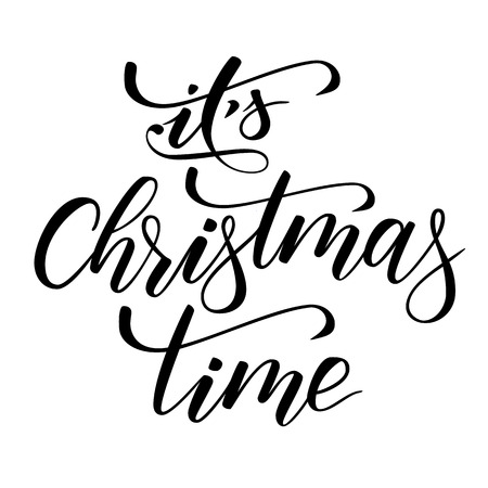 Illustration pour Brush calligraphy Its Christmas time - image libre de droit