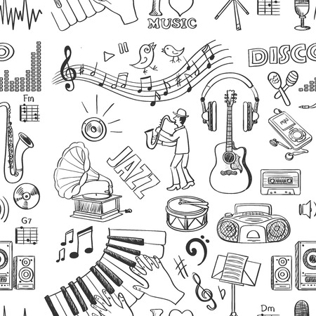 Hand drawn music pattern, excellent vector illustration