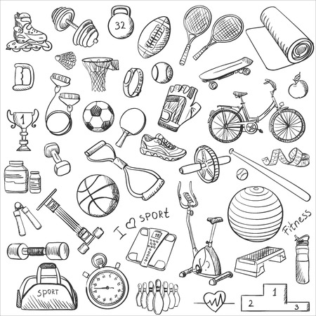 Illustration pour Hand drawn Fitness doodle set, excellent vector illustration - image libre de droit