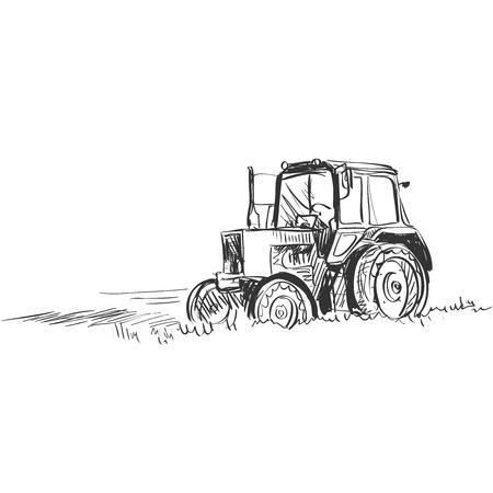 Tractor. Doodle style. Isolated in white background. Excellent vector illustration, EPS 10
