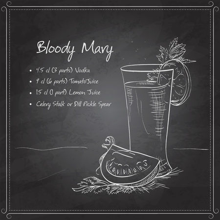 Bloody Mary cocktail on black board with cayenne pepper rim: Royalty