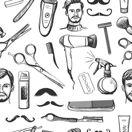 Hand drawn retro barbershop seamless pattern with Scissors, razor, shaving brush, barber pole, shaving mirror, moustache, comp.