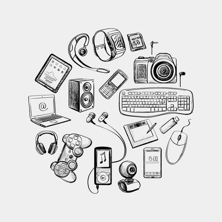 Illustration pour Circular design of hand drawn electronic gadget with notebook, phone, game pad, photo camera, tablet, pc, flash card, headphones, watches, computer, laptop, monitor and other - image libre de droit