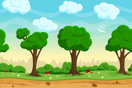 Illustration for Illustration of a nature landscape ,with green forest and grass, vector unending background with separated layers for game. - Royalty Free Image