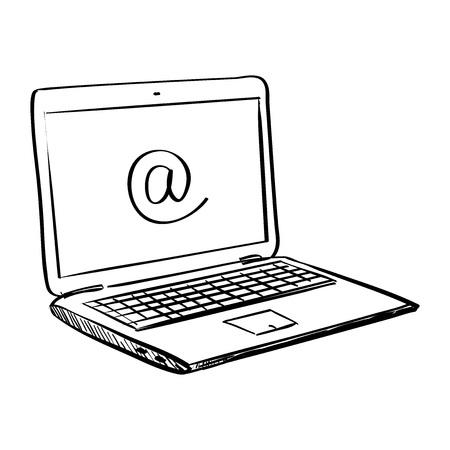 Illustration pour Hand draw doodle laptop , excellent vector illustration,  - image libre de droit