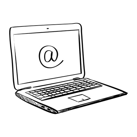 Hand draw doodle laptop , excellent vector illustration,
