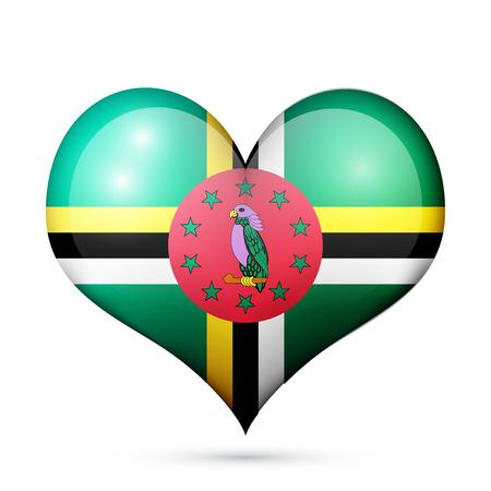 Love Dominica symbol Heart flag icon. Vector illustration.