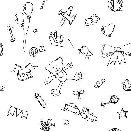 Ilustración de Cute doodle baby icons set seamless pattern. - Imagen libre de derechos