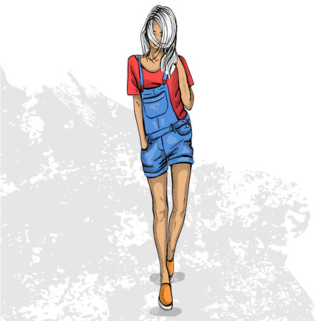 Vektor für High trendy color look .Glamor stylish beautiful young woman model. Bright colorful cloth. Fashion style - Lizenzfreies Bild