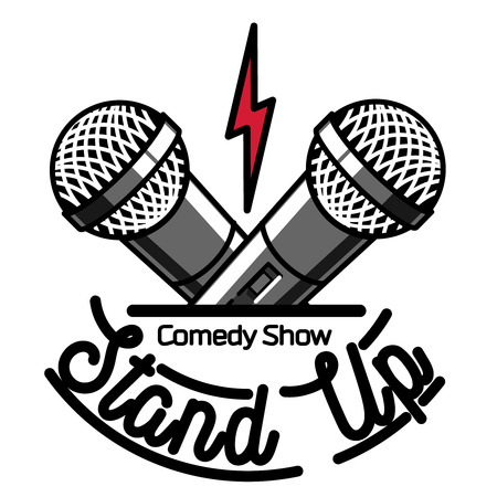 Illustration pour Color vintage Stand up comedy show emblem, logo and badge at white background. - image libre de droit