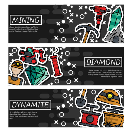 Set of Horizontal Banners about Mining vector illustration