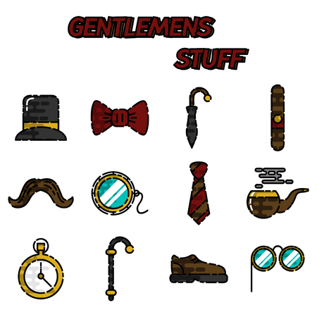 Gentlemens vintage stuff flat icon set and design elements collection