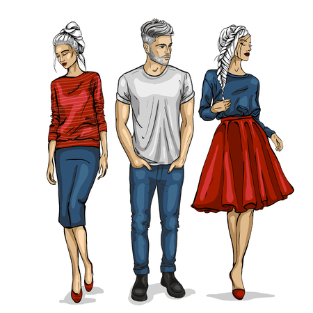 Ilustración de Male and female fashion models icon. - Imagen libre de derechos