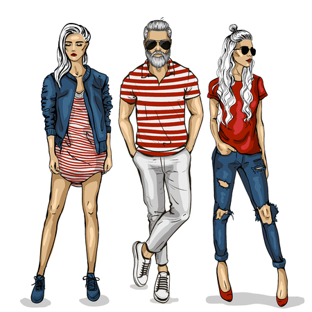 Illustration for Male and female fashion models icon. - Royalty Free Image