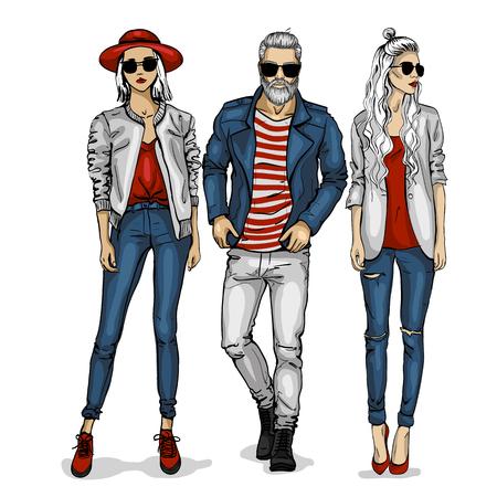 Illustration pour Male and female fashion models icon. - image libre de droit