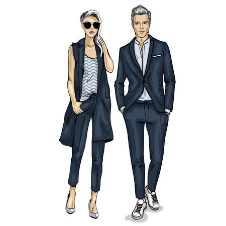 Illustration pour Man and a woman fashion models icon. - image libre de droit