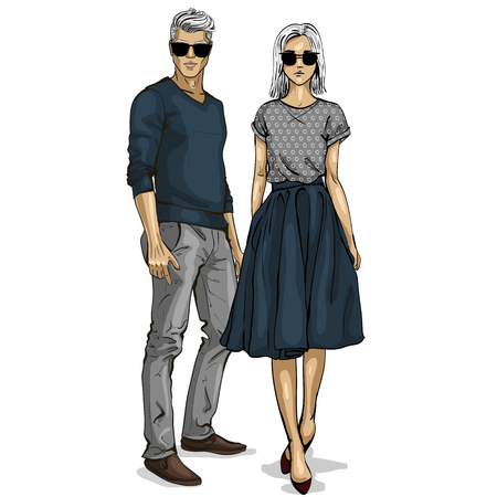 Illustration pour Man and a woman fashion models icon. - image libre de droit