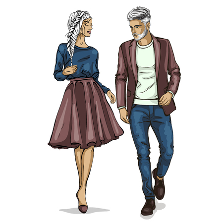 Illustration for Man and a woman fashion models icon. - Royalty Free Image