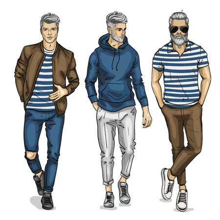 Ilustración de A Vector young man models on plain background. - Imagen libre de derechos