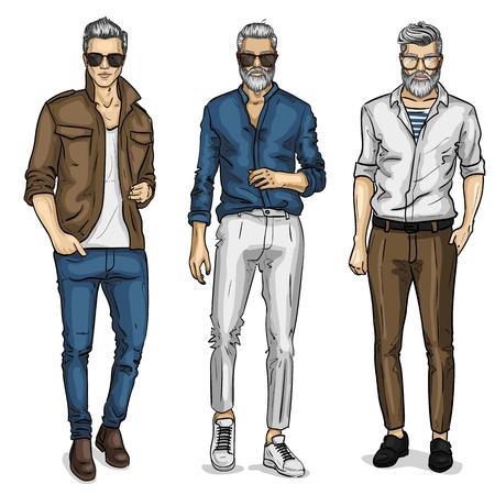 Illustration pour Vector young man models, sketch, spring outfit. Vector illustration EPS 10 - image libre de droit