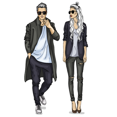 Illustration pour Vector woman and man fashion models with sunglasses, autumn outfit - image libre de droit