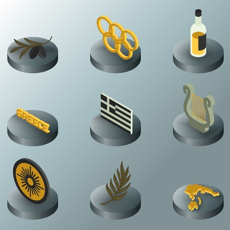 Greece color concept isometric icons