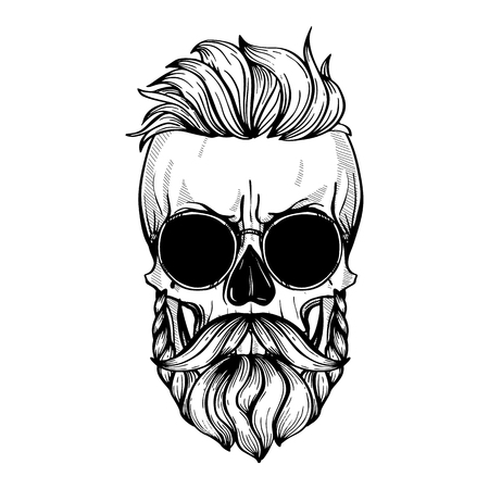 Illustration pour Angry skull with hairstyle, moustaches, beard and sunglasses, line art - image libre de droit
