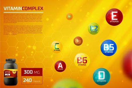 Illustration pour Vitamin complex template - image libre de droit