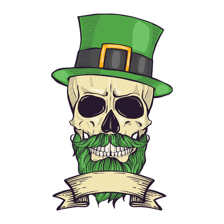Illustration pour Color handdrawn skull of leprechaun with mustache, beard hat and clover leaves and a ribbon - image libre de droit