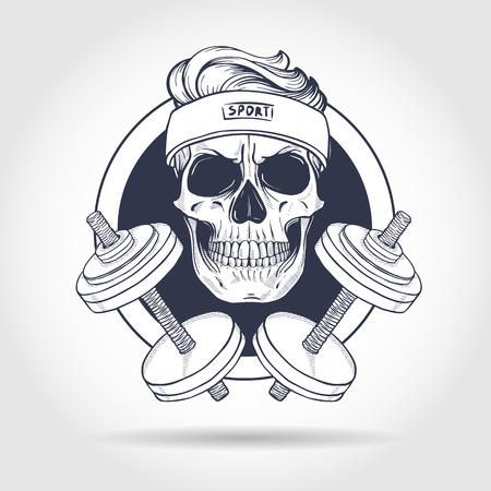 Illustration pour Hand drawn sketch, sport skull with dumbbells and sweat band - image libre de droit