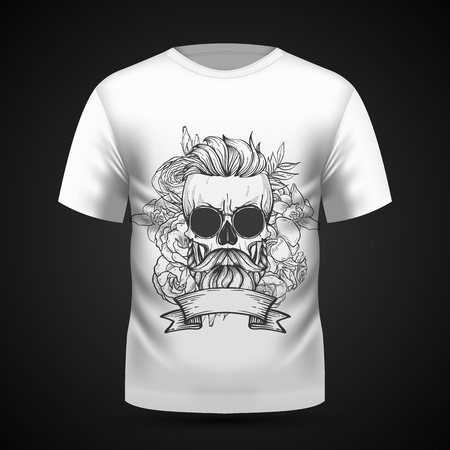 a6e95d8e Angry skull with hairstyle, moustaches, beard and sunglasses with flowers  and ribbon on T. Beard power. Human ...