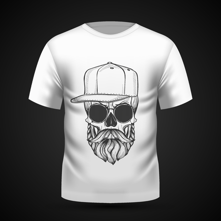 Ilustración de Angry skull with hairstyle, moustaches, beard, hat and sunglasses on T-shirt . Vector illustration, EPS 10 - Imagen libre de derechos