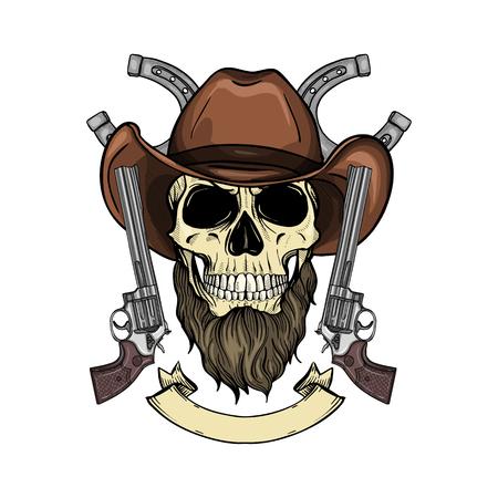 Illustration pour Hand drawn sketch, color skull with cowboy hat, revolver and beard - image libre de droit