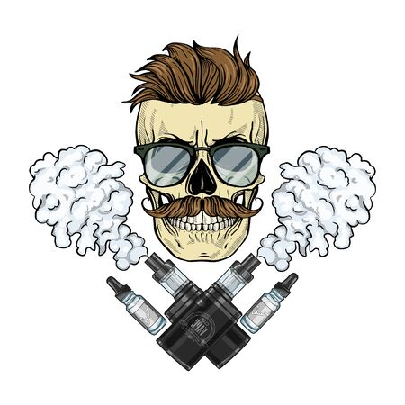 Illustration pour Color hipster skull with mustaches, vaporizer cigarette, liquid to fill, sunglasses and clouds of smoke - image libre de droit