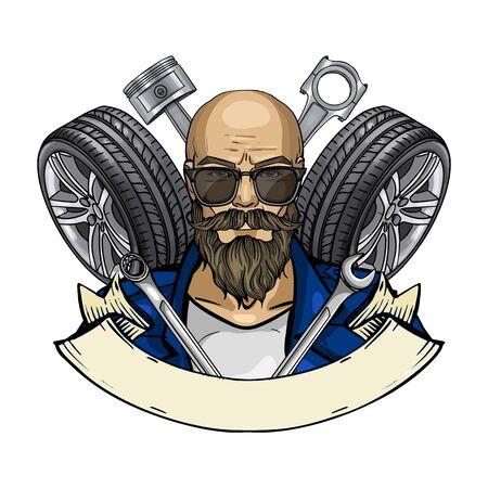 Illustration pour Hand drawn color sketch, racer man with sunglasses and race car tire. Poster, flyer design - image libre de droit