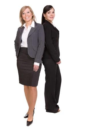 two businesswomen over white background