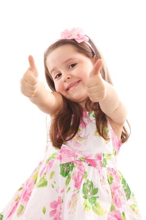 Smiling up with her thumbs up isolated on white