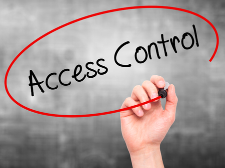 Man Hand writing Access Control with black marker on visual screen. Isolated on grey. Business, technology, internet concept. Stock Photo