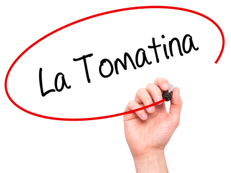 Man Hand writing La Tomatina with black marker on visual screen. Isolated on white. Business, technology, internet concept.