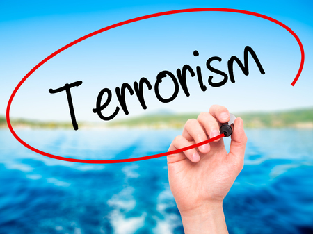Man Hand writing Terrorism with black marker on visual screen. Isolated on nature. Business, technology, internet concept.